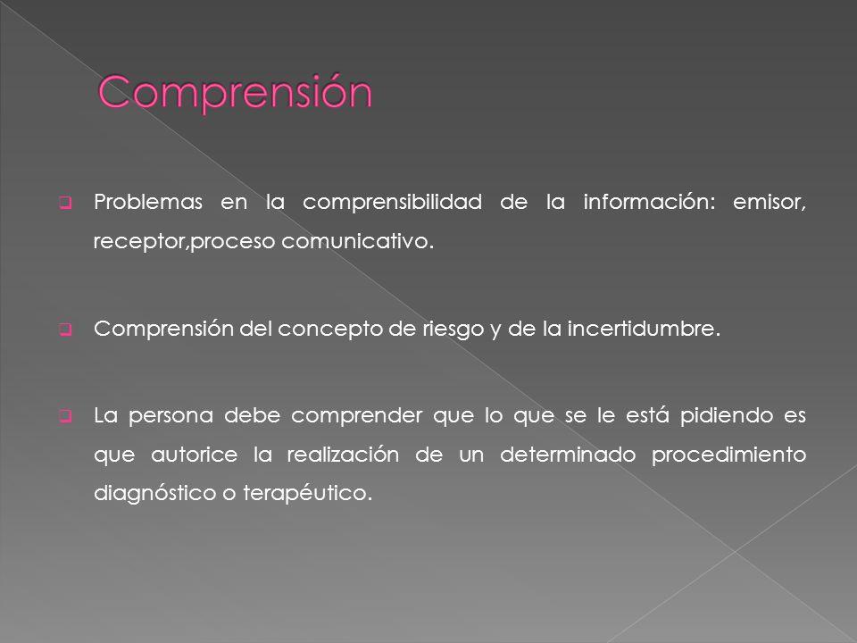 Problemas en la comprensibilidad de la información: emisor, receptor,proceso comunicativo. Comprensión del concepto de riesgo y de la incertidumbre. L