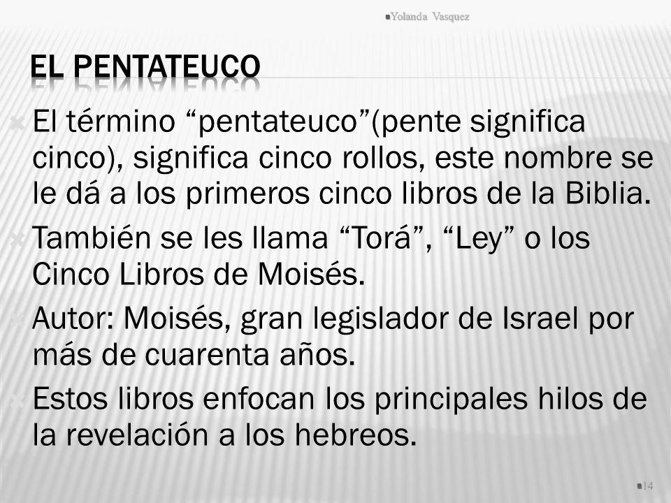 El término pentateuco(pente significa cinco), significa cinco rollos, este nombre se le dá a los primeros cinco libros de la Biblia. También se les ll
