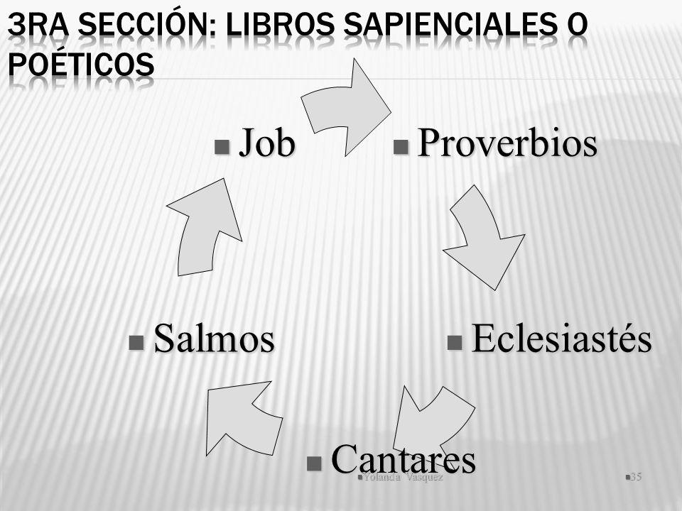 Proverbios Proverbios Eclesiastés Eclesiastés Cantares Cantares Salmos Salmos Job Job Yolanda Vasquez 35