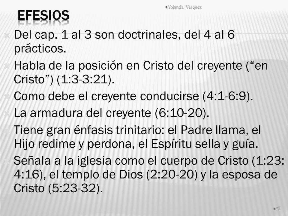 Del cap. 1 al 3 son doctrinales, del 4 al 6 prácticos. Habla de la posición en Cristo del creyente (en Cristo) (1:3-3:21). Como debe el creyente condu