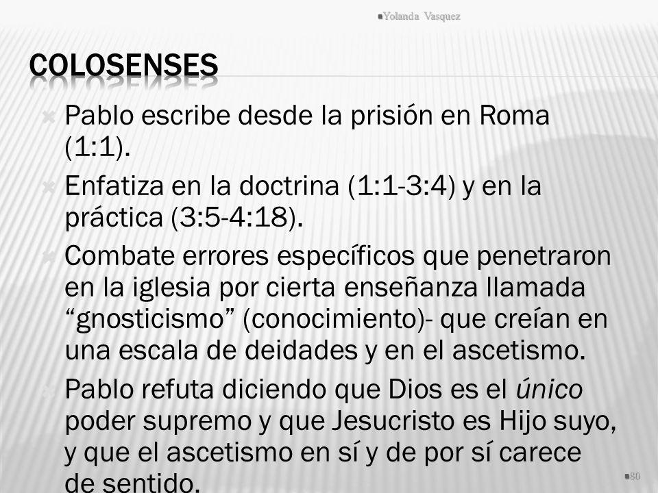 Pablo escribe desde la prisión en Roma (1:1). Enfatiza en la doctrina (1:1-3:4) y en la práctica (3:5-4:18). Combate errores específicos que penetraro
