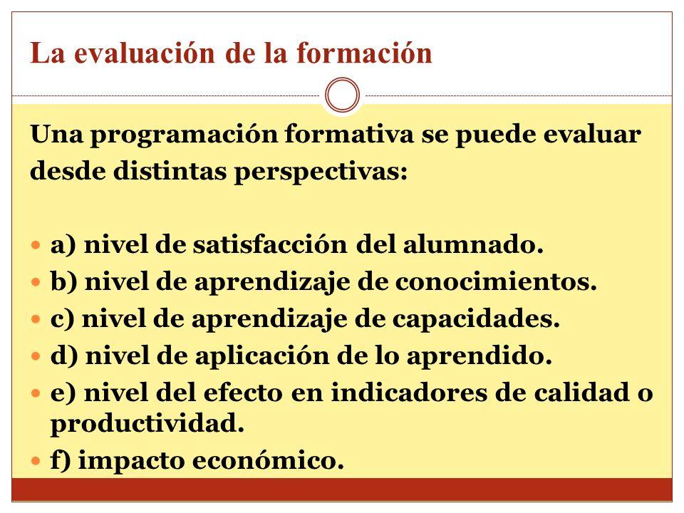 La evaluación de la formación Una programación formativa se puede evaluar desde distintas perspectivas: a) nivel de satisfacción del alumnado. b) nive