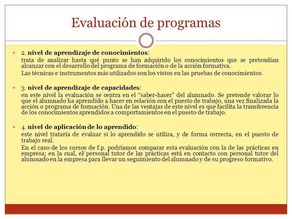 Evaluación de programas 2. nivel de aprendizaje de conocimientos: trata de analizar hasta qué punto se han adquirido los conocimientos que se pretendí