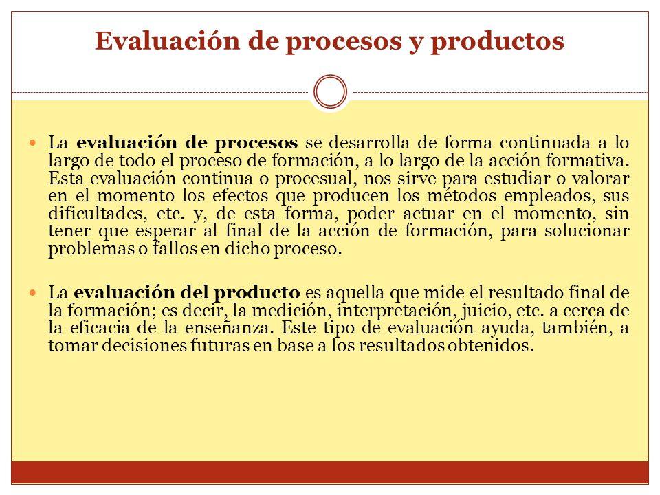 Evaluación de procesos y productos La evaluación de procesos se desarrolla de forma continuada a lo largo de todo el proceso de formación, a lo largo
