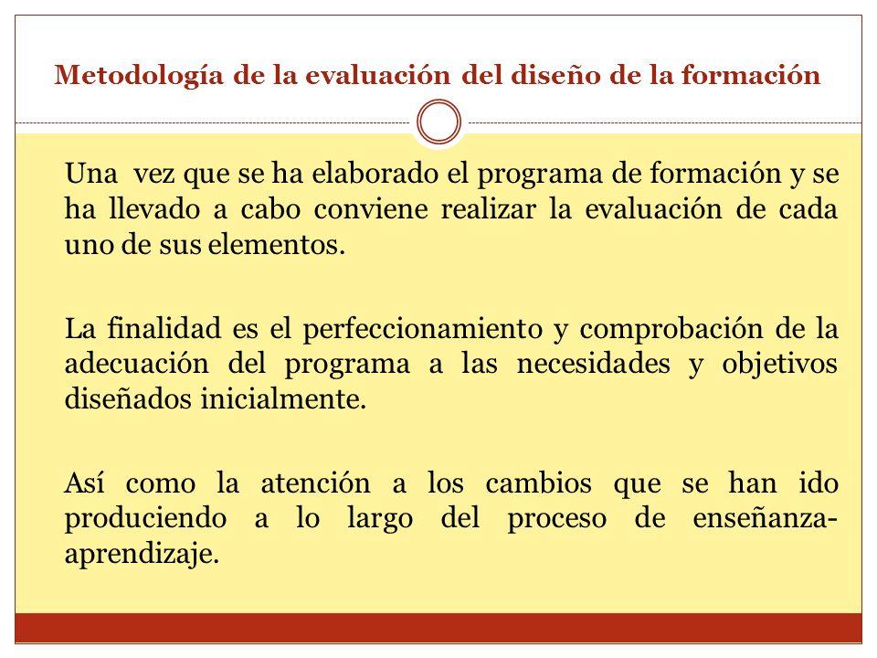 Metodología de la evaluación del diseño de la formación Una vez que se ha elaborado el programa de formación y se ha llevado a cabo conviene realizar
