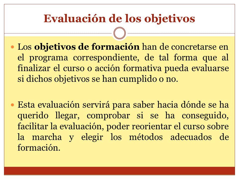 Evaluación de los objetivos Los objetivos de formación han de concretarse en el programa correspondiente, de tal forma que al finalizar el curso o acc