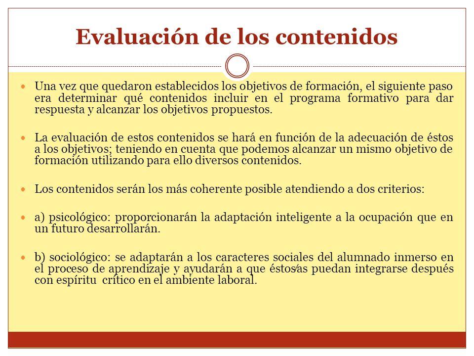 Evaluación de los contenidos Una vez que quedaron establecidos los objetivos de formación, el siguiente paso era determinar qué contenidos incluir en