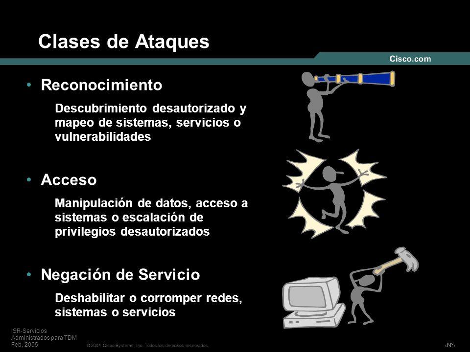 Nº © 2004 Cisco Systems, Inc. Todos los derechos reservados. ISR-Servicios Administrados para TDM Feb, 2005 Clases de Ataques Reconocimiento Descubrim