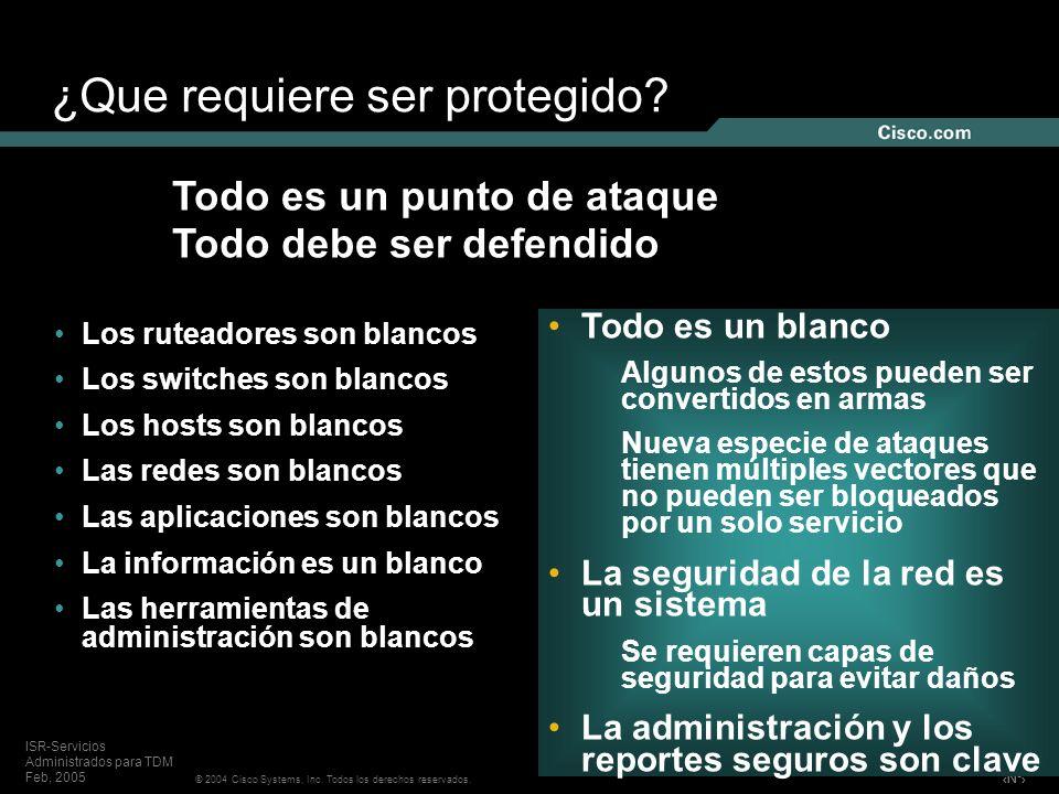 Nº © 2004 Cisco Systems, Inc. Todos los derechos reservados. ISR-Servicios Administrados para TDM Feb, 2005 Los ruteadores son blancos Los switches so