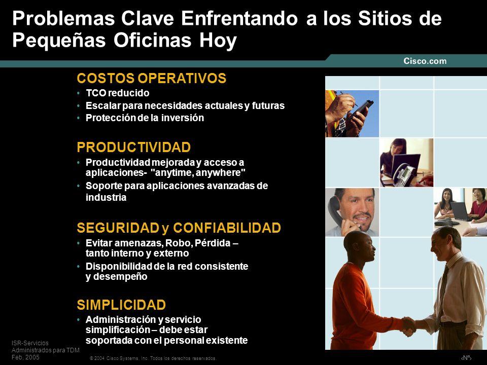 Nº © 2004 Cisco Systems, Inc. Todos los derechos reservados. ISR-Servicios Administrados para TDM Feb, 2005 Problemas Clave Enfrentando a los Sitios d