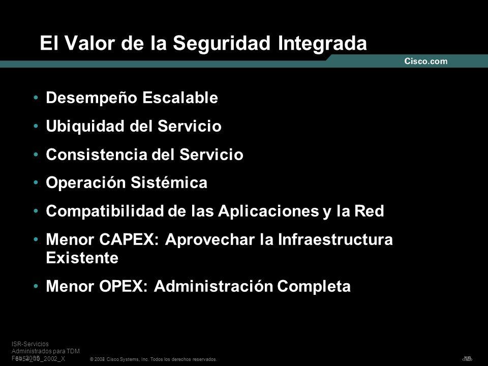 Nº © 2004 Cisco Systems, Inc. Todos los derechos reservados. ISR-Servicios Administrados para TDM Feb, 2005 El Valor de la Seguridad Integrada Desempe