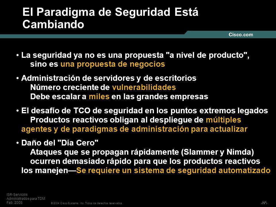 Nº © 2004 Cisco Systems, Inc. Todos los derechos reservados. ISR-Servicios Administrados para TDM Feb, 2005 El Paradigma de Seguridad Está Cambiando L