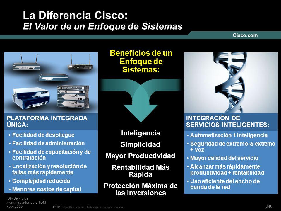 Nº © 2004 Cisco Systems, Inc. Todos los derechos reservados. ISR-Servicios Administrados para TDM Feb, 2005 La Diferencia Cisco: El Valor de un Enfoqu