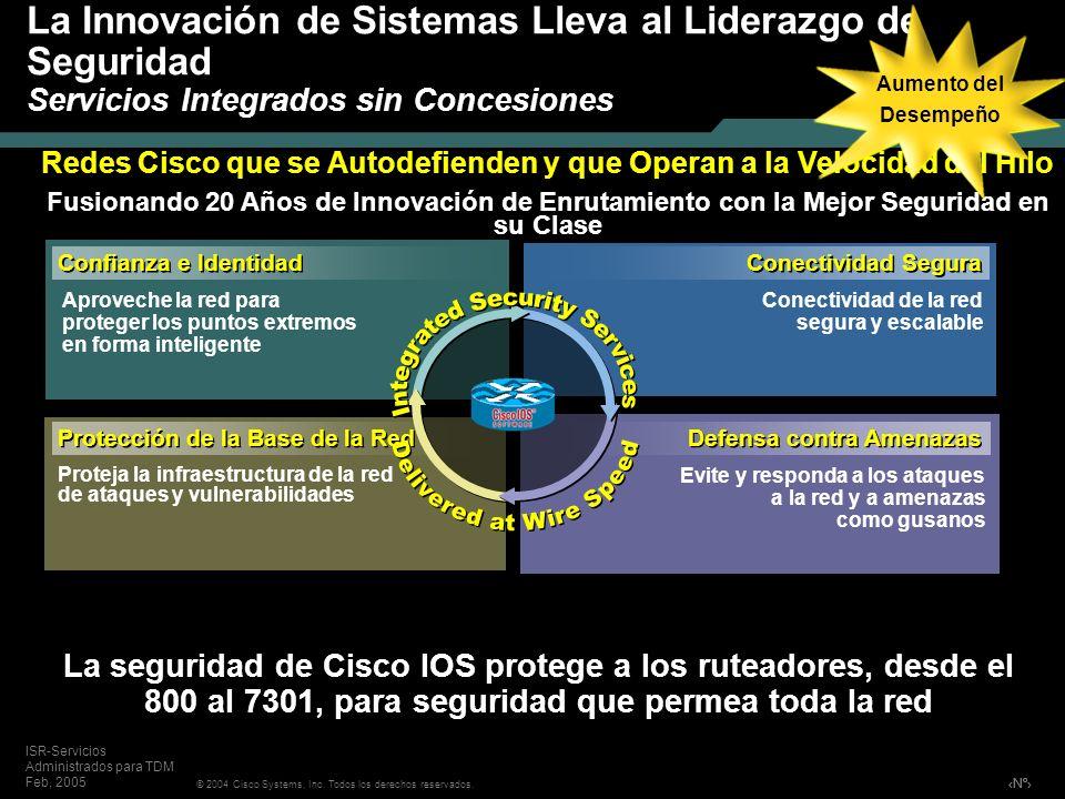Nº © 2004 Cisco Systems, Inc. Todos los derechos reservados. ISR-Servicios Administrados para TDM Feb, 2005 Redes Cisco que se Autodefienden y que Ope