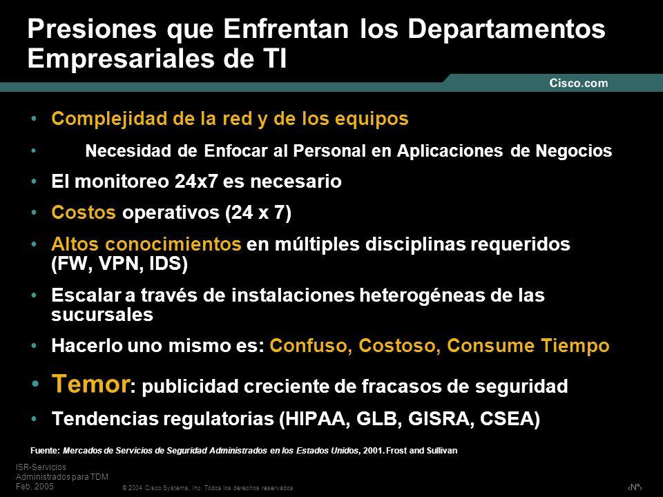 Nº © 2004 Cisco Systems, Inc. Todos los derechos reservados. ISR-Servicios Administrados para TDM Feb, 2005 Presiones que Enfrentan los Departamentos