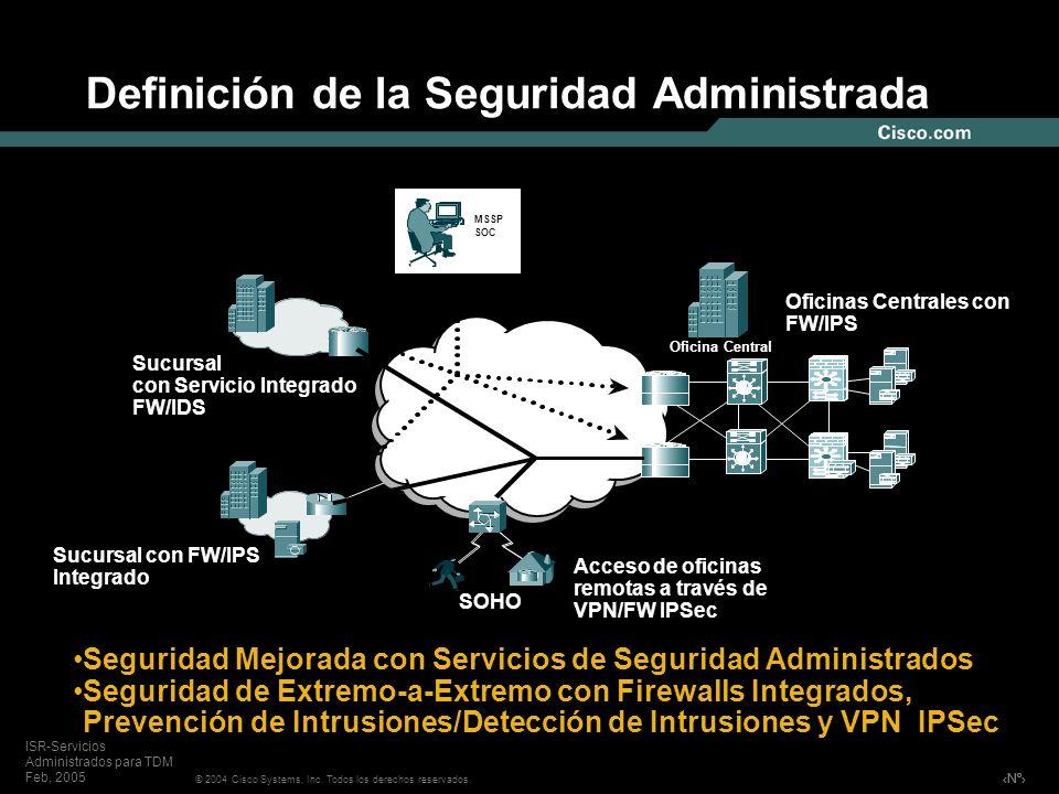 Nº © 2004 Cisco Systems, Inc. Todos los derechos reservados. ISR-Servicios Administrados para TDM Feb, 2005 Definición de la Seguridad Administrada Of