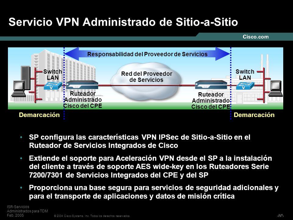 Nº © 2004 Cisco Systems, Inc. Todos los derechos reservados. ISR-Servicios Administrados para TDM Feb, 2005 Servicio VPN Administrado de Sitio-a-Sitio