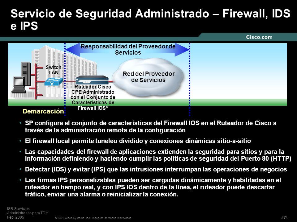 Nº © 2004 Cisco Systems, Inc. Todos los derechos reservados. ISR-Servicios Administrados para TDM Feb, 2005 SP configura el conjunto de característica