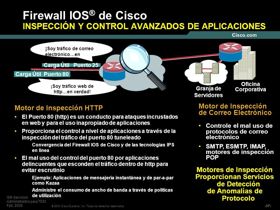 Nº © 2004 Cisco Systems, Inc. Todos los derechos reservados. ISR-Servicios Administrados para TDM Feb, 2005 Firewall IOS ® de Cisco INSPECCIÓN Y CONTR
