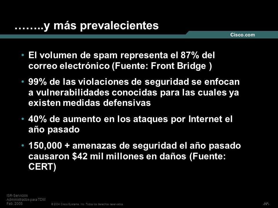 Nº © 2004 Cisco Systems, Inc. Todos los derechos reservados. ISR-Servicios Administrados para TDM Feb, 2005 ……..y más prevalecientes El volumen de spa
