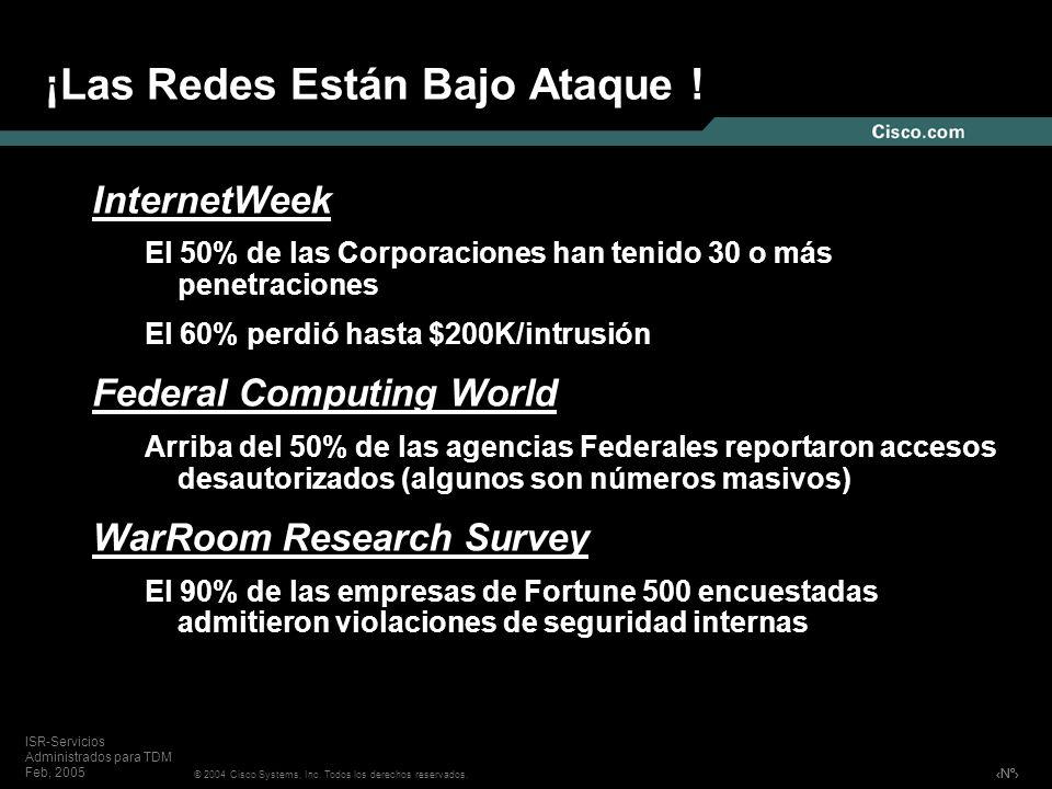 Nº © 2004 Cisco Systems, Inc. Todos los derechos reservados. ISR-Servicios Administrados para TDM Feb, 2005 InternetWeek El 50% de las Corporaciones h