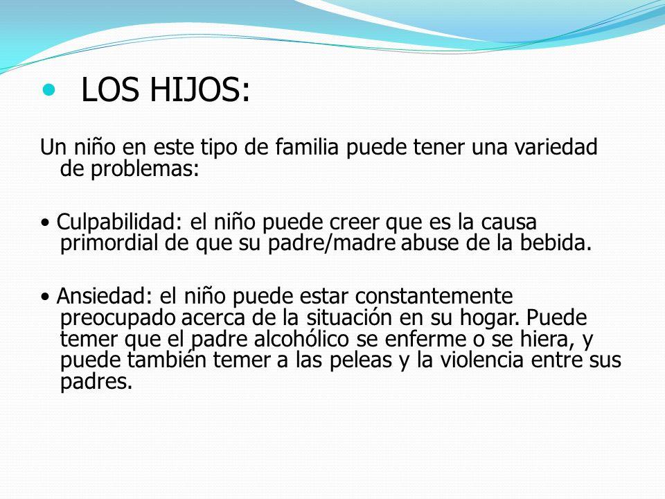LOS HIJOS: Un niño en este tipo de familia puede tener una variedad de problemas: Culpabilidad: el niño puede creer que es la causa primordial de que