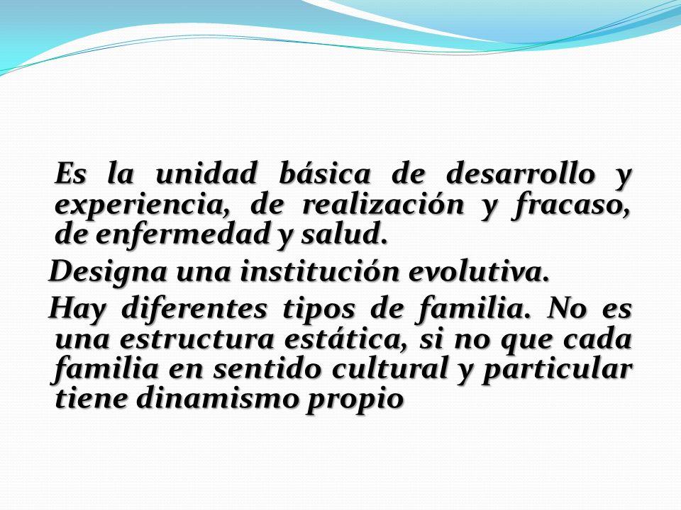 Es la unidad básica de desarrollo y experiencia, de realización y fracaso, de enfermedad y salud. Designa una institución evolutiva. Designa una insti