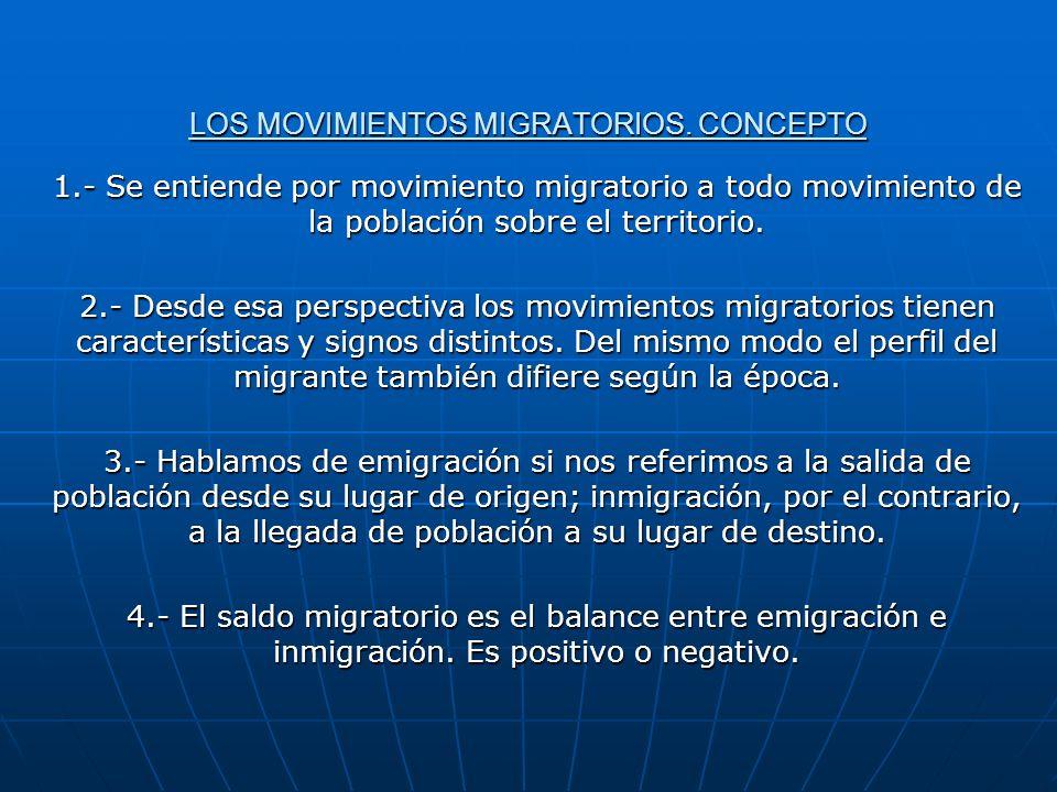 LOS MOVIMIENTOS MIGRATORIOS. CONCEPTO 1.- Se entiende por movimiento migratorio a todo movimiento de la población sobre el territorio. 2.- Desde esa p
