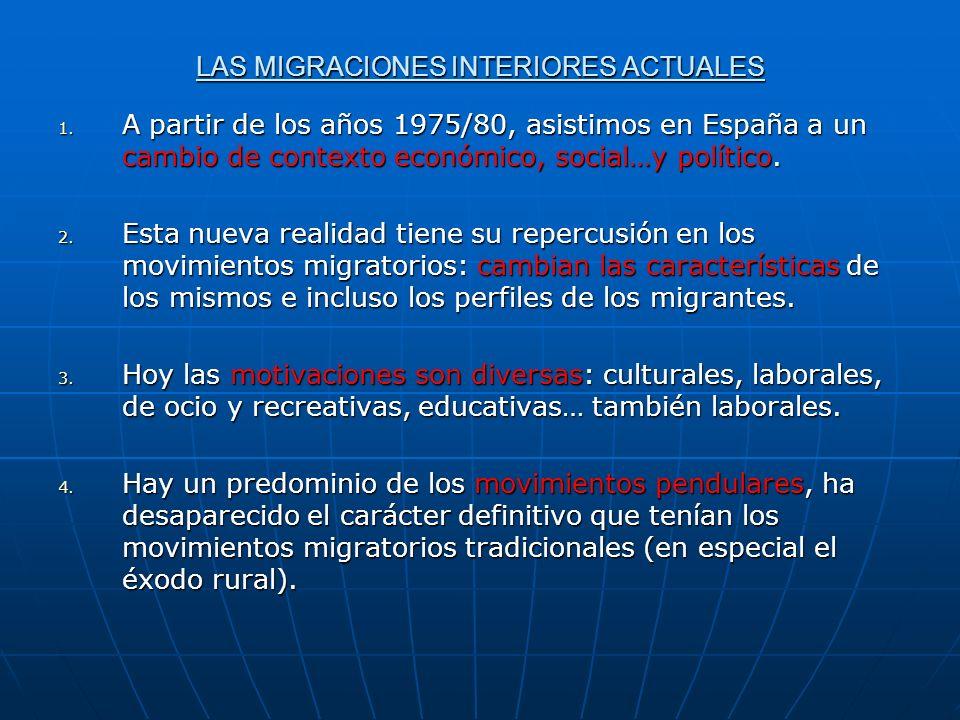 LAS MIGRACIONES INTERIORES ACTUALES 1. A partir de los años 1975/80, asistimos en España a un cambio de contexto económico, social…y político. 2. Esta