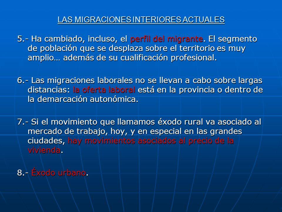 LAS MIGRACIONES INTERIORES ACTUALES 5.- Ha cambiado, incluso, el perfil del migrante. El segmento de población que se desplaza sobre el territorio es