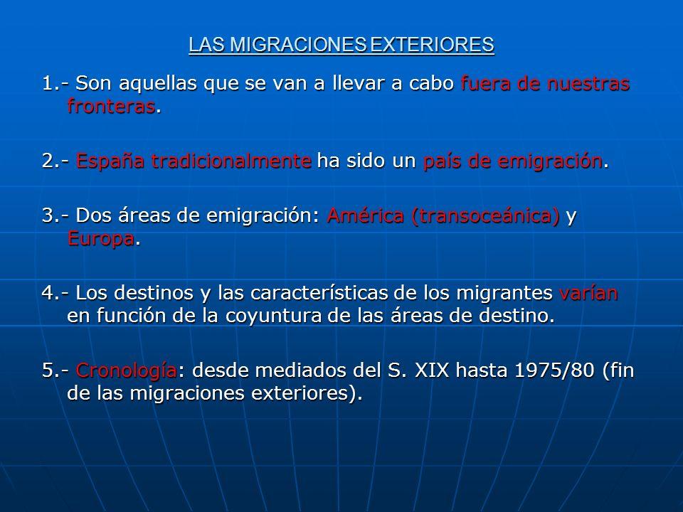 LAS MIGRACIONES EXTERIORES 1.- Son aquellas que se van a llevar a cabo fuera de nuestras fronteras. 2.- España tradicionalmente ha sido un país de emi
