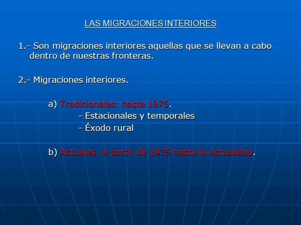 LAS MIGRACIONES INTERIORES 1.- Son migraciones interiores aquellas que se llevan a cabo dentro de nuestras fronteras. 2.- Migraciones interiores. a) T