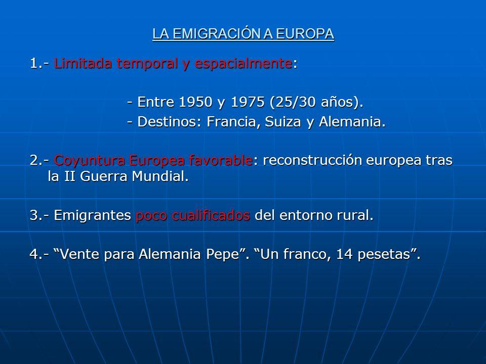 LA EMIGRACIÓN A EUROPA 1.- Limitada temporal y espacialmente: - Entre 1950 y 1975 (25/30 años). - Destinos: Francia, Suiza y Alemania. 2.- Coyuntura E