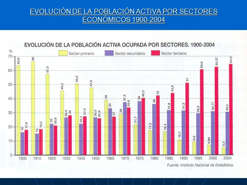 EVOLUCIÓN DE LA POBLACIÓN ACTIVA POR SECTORES ECONÓMICOS 1900-2004