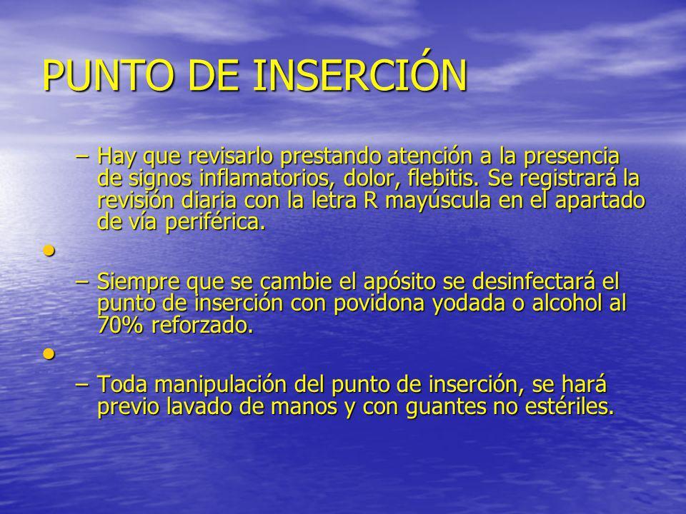 PUNTO DE INSERCIÓN –Hay que revisarlo prestando atención a la presencia de signos inflamatorios, dolor, flebitis. Se registrará la revisión diaria con