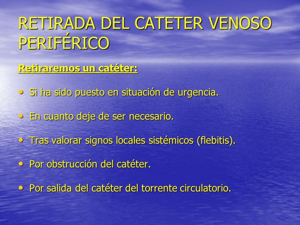 RETIRADA DEL CATETER VENOSO PERIFÉRICO Retiraremos un catéter: Si ha sido puesto en situación de urgencia. Si ha sido puesto en situación de urgencia.