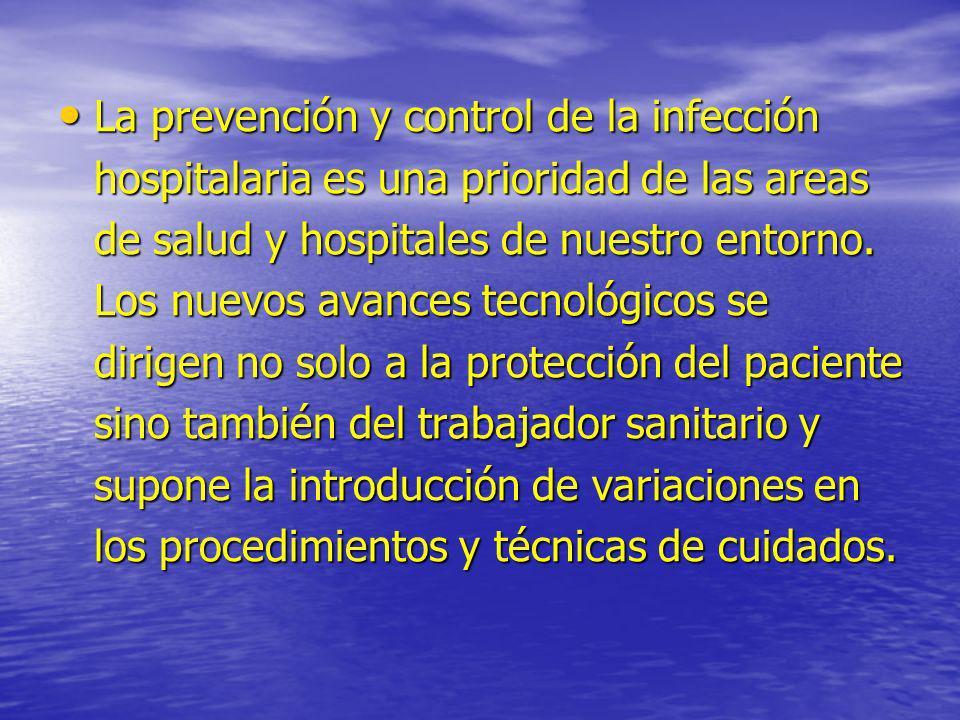 La prevención y control de la infección hospitalaria es una prioridad de las areas de salud y hospitales de nuestro entorno. Los nuevos avances tecnol