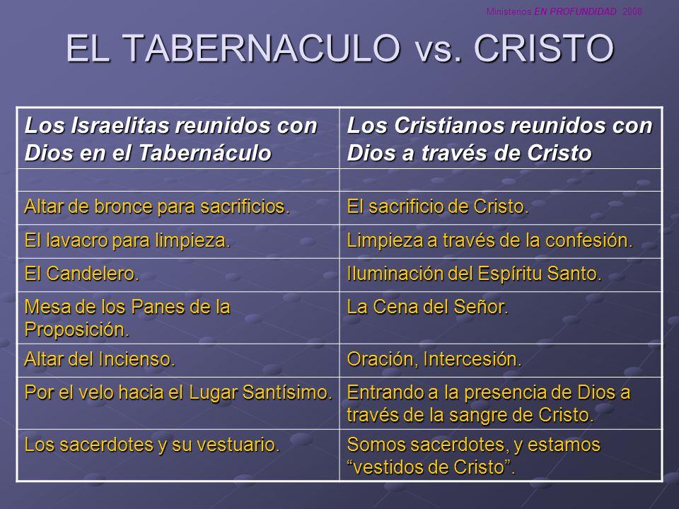 Ministerios EN PROFUNDIDAD 2008 EL TABERNACULO vs. CRISTO Los Israelitas reunidos con Dios en el Tabernáculo Los Cristianos reunidos con Dios a través