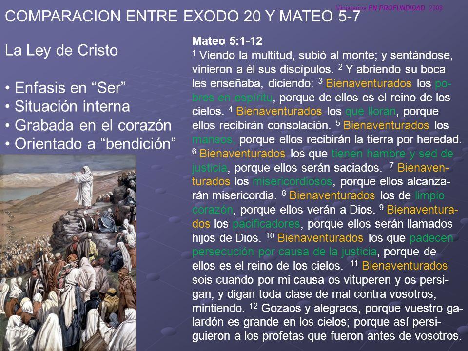 Ministerios EN PROFUNDIDAD 2008 COMPARACION ENTRE EXODO 20 Y MATEO 5-7 La Ley de Cristo Enfasis en Ser Situación interna Grabada en el corazón Orienta
