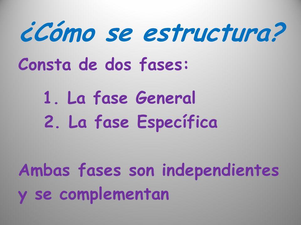 ¿Cómo se estructura? Consta de dos fases: 1. La fase General 2. La fase Específica Ambas fases son independientes y se complementan