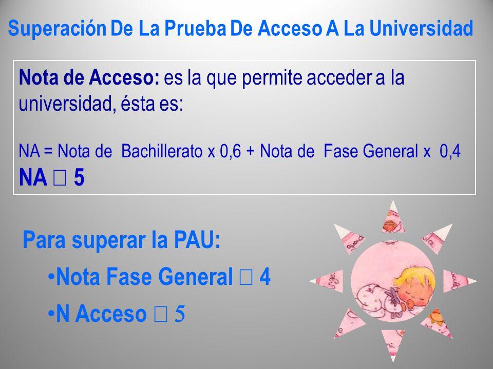 Superación De La Prueba De Acceso A La Universidad Nota de Acceso: es la que permite acceder a la universidad, ésta es: NA = Nota de Bachillerato x 0,
