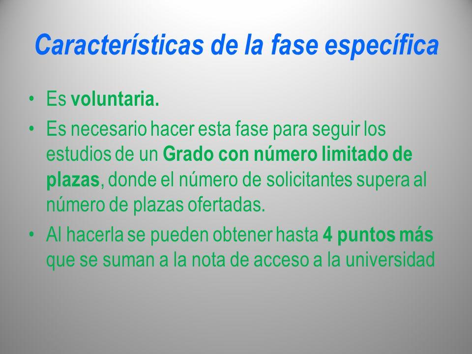 Características de la fase específica Es voluntaria. Es necesario hacer esta fase para seguir los estudios de un Grado con número limitado de plazas,