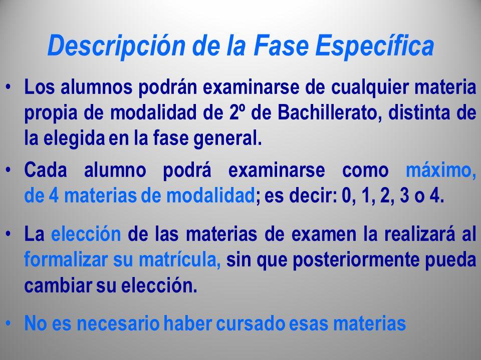 Descripción de la Fase Específica Los alumnos podrán examinarse de cualquier materia propia de modalidad de 2º de Bachillerato, distinta de la elegida