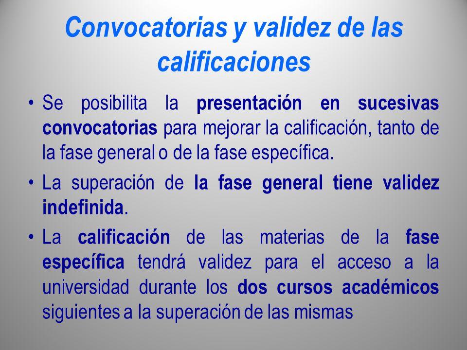 Convocatorias y validez de las calificaciones Se posibilita la presentación en sucesivas convocatorias para mejorar la calificación, tanto de la fase
