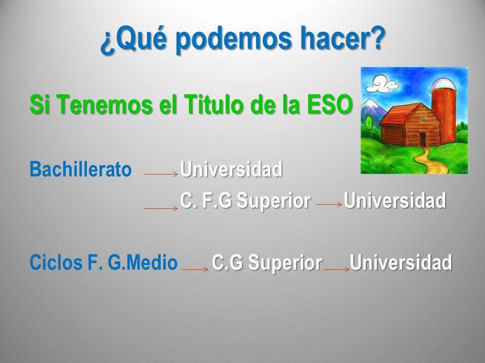 ¿Qué podemos hacer? Si Tenemos el Titulo de la ESO Universidad Bachillerato Universidad C. F.G Superior Universidad C. F.G Superior Universidad C.G Su