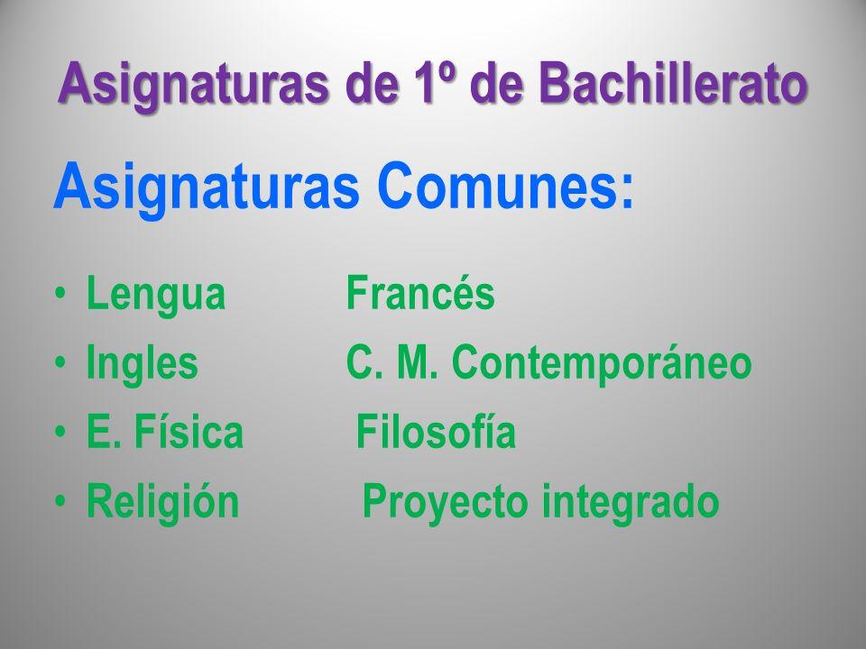 Asignaturas de 1º de Bachillerato Asignaturas Comunes: Lengua Francés Ingles C. M. Contemporáneo E. Física Filosofía Religión Proyecto integrado