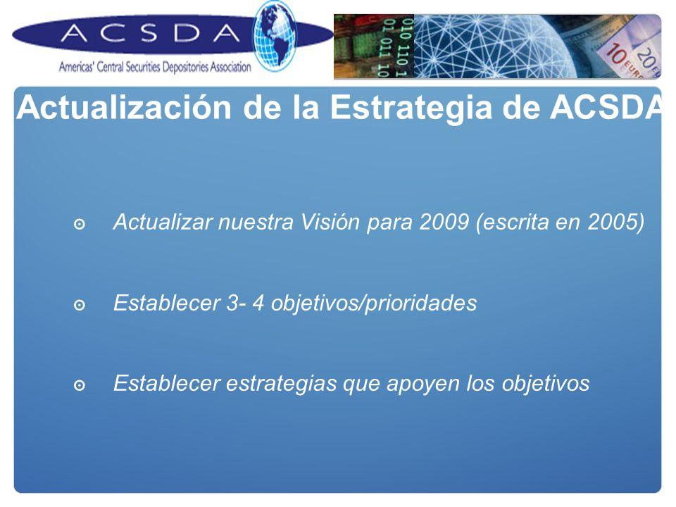 Actualizar nuestra Visión para 2009 (escrita en 2005) Establecer 3- 4 objetivos/prioridades Establecer estrategias que apoyen los objetivos Actualización de la Estrategia de ACSDA