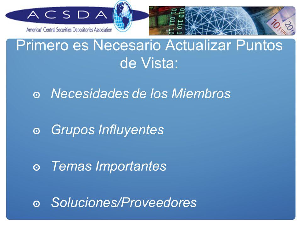 Primero es Necesario Actualizar Puntos de Vista: Necesidades de los Miembros Grupos Influyentes Temas Importantes Soluciones/Proveedores