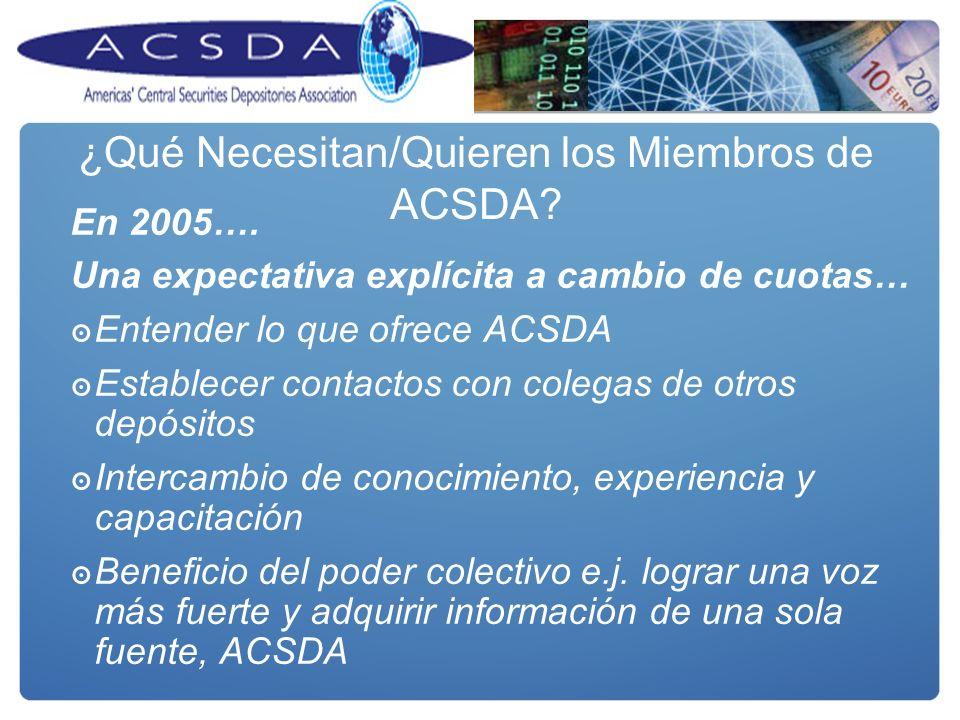 ¿Qué Necesitan/Quieren los Miembros de ACSDA? En 2005…. Una expectativa explícita a cambio de cuotas… Entender lo que ofrece ACSDA Establecer contacto