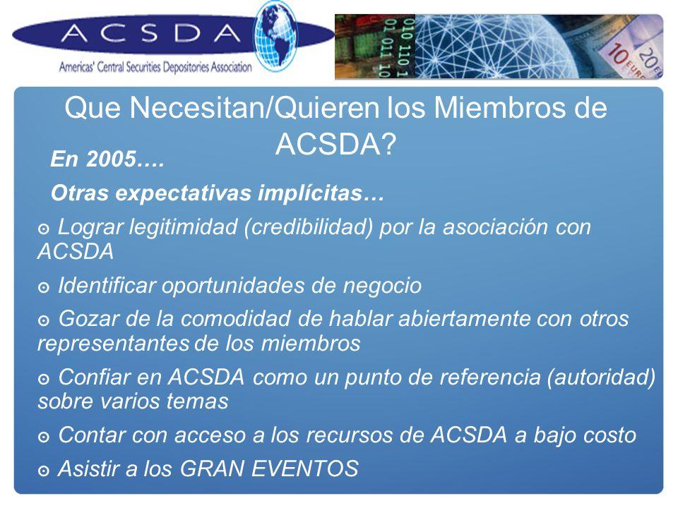 En 2005…. Otras expectativas implícitas… Lograr legitimidad (credibilidad) por la asociación con ACSDA Identificar oportunidades de negocio Gozar de l